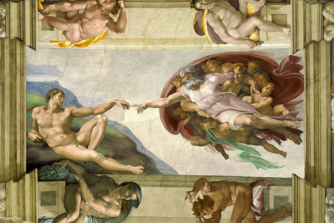 """Michelangelo - Creation of Adam"" by Michelangelo Buonarroti - See below.. Licensed under Public Domain via Wikimedia Commons - https://commons.wikimedia.org/wiki/File:Michelangelo_-_Creation_of_Adam.jpg#mediaviewer/File:Michelangelo_-_Creation_of_Adam.jpg"